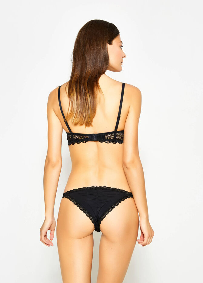 Stretch tanga with lace and bow