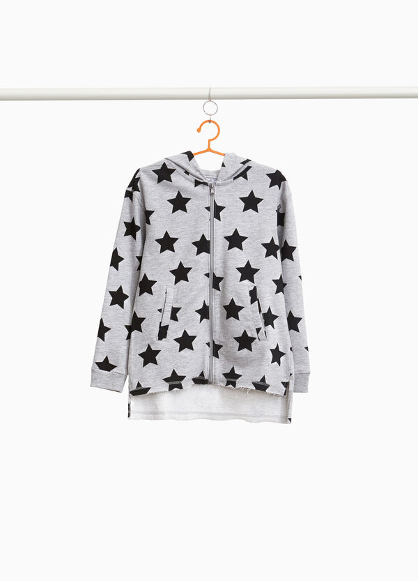 Sweatshirt with star pattern and kitten embroidery