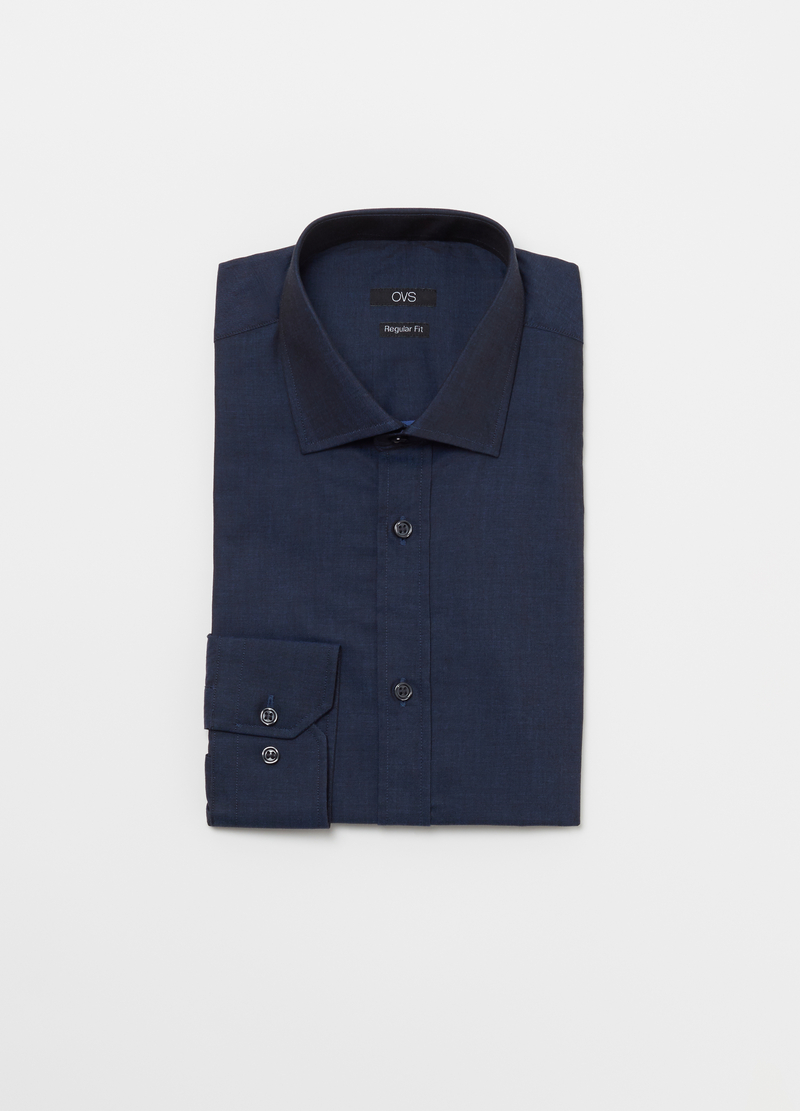 Compact weave shirt with semi cut-away collar image number null