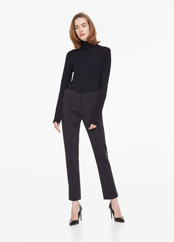 Stretch trousers with bands