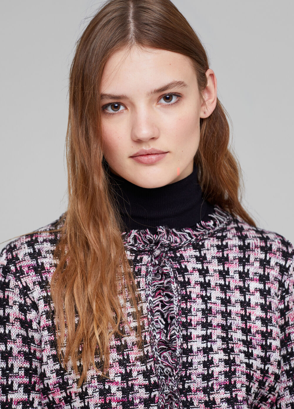 Patterned knitted cardigan with fringing