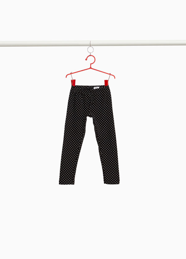 Leggings cotone stretch a pois