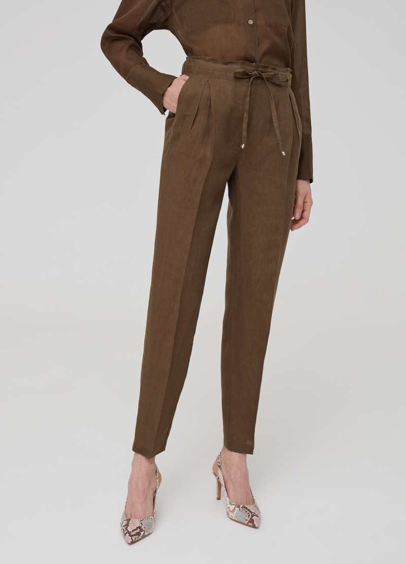 Solid colour 100% linen jogging trousers image number null