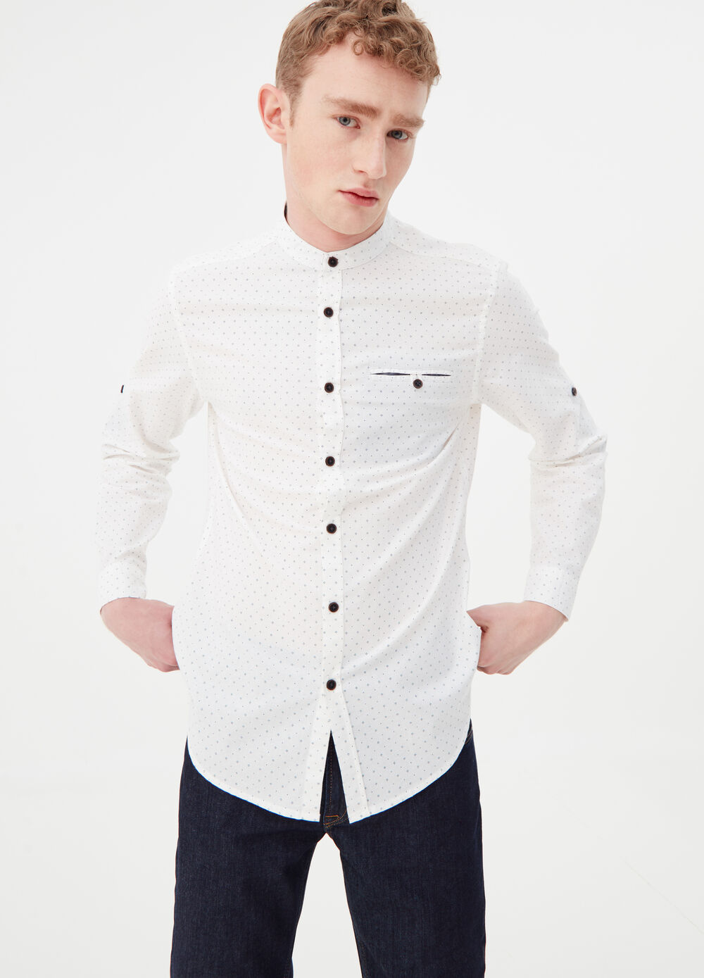 Shirt with Mandarin collar