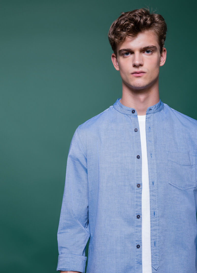 Slim-fit casual shirt in 100% cotton