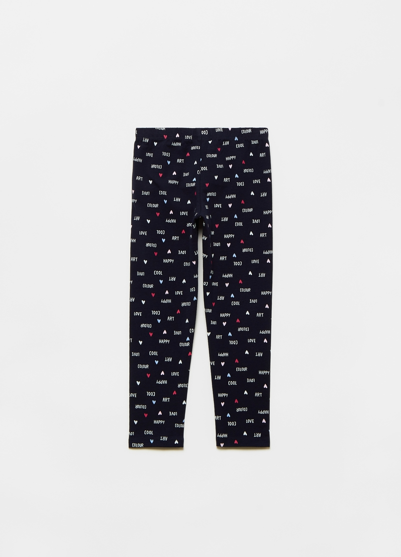 Leggings with lettering and hearts print image number null