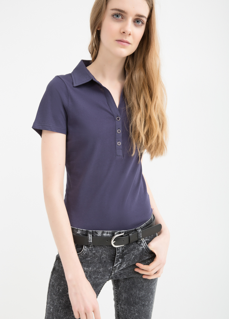 Solid colour polo shirt in 100% cotton image number null