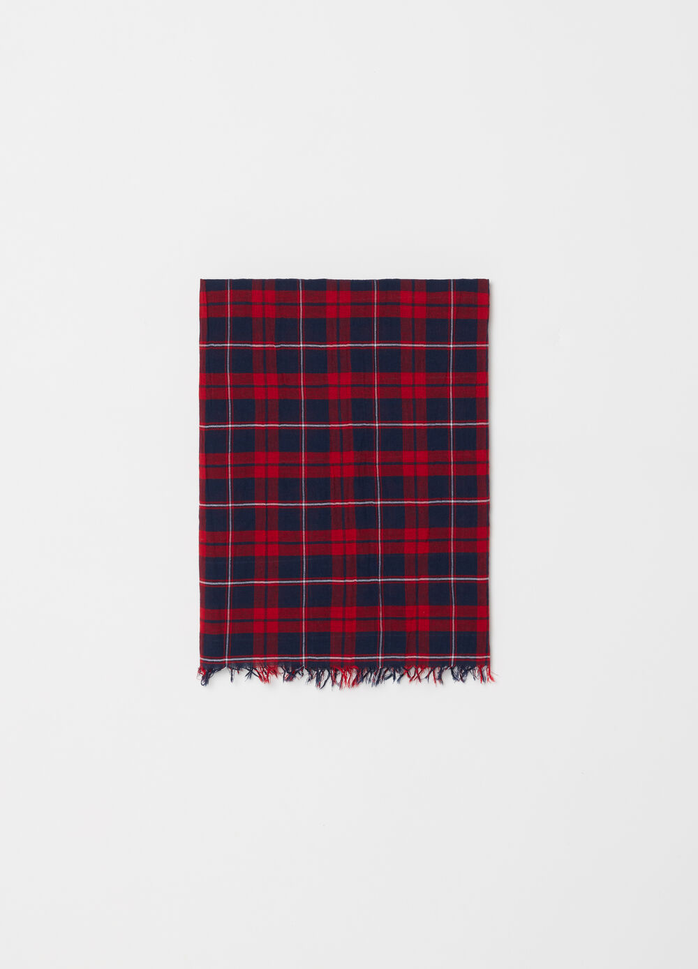 Yarn-dyed scarf with check fringed hem