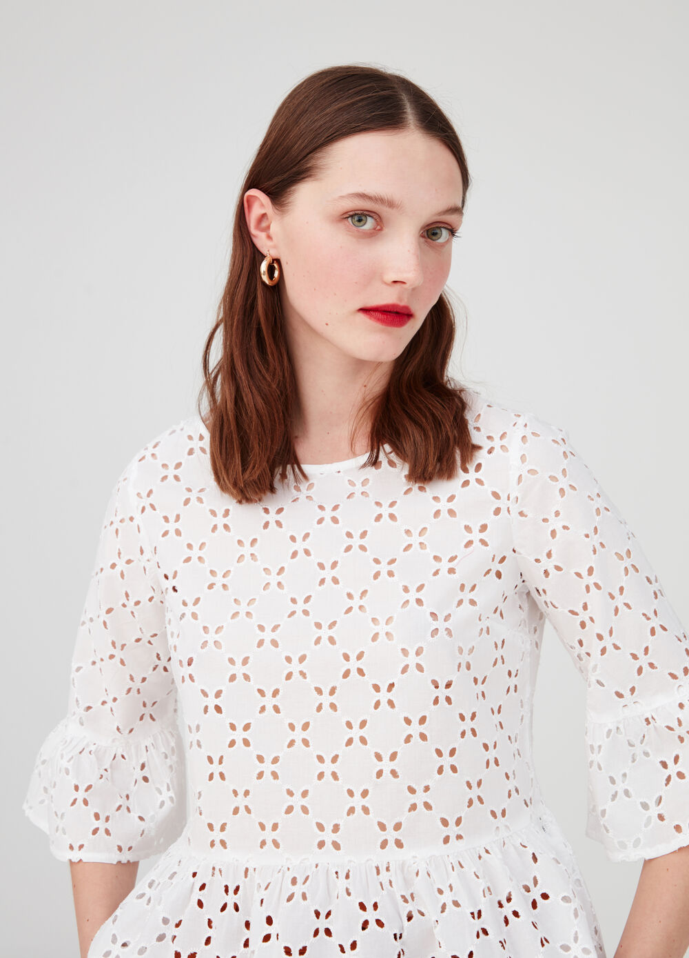 Openwork cotton blouse with elbow-length sleeves