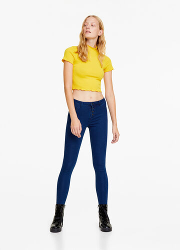 Basic stretch jeggings with high waist