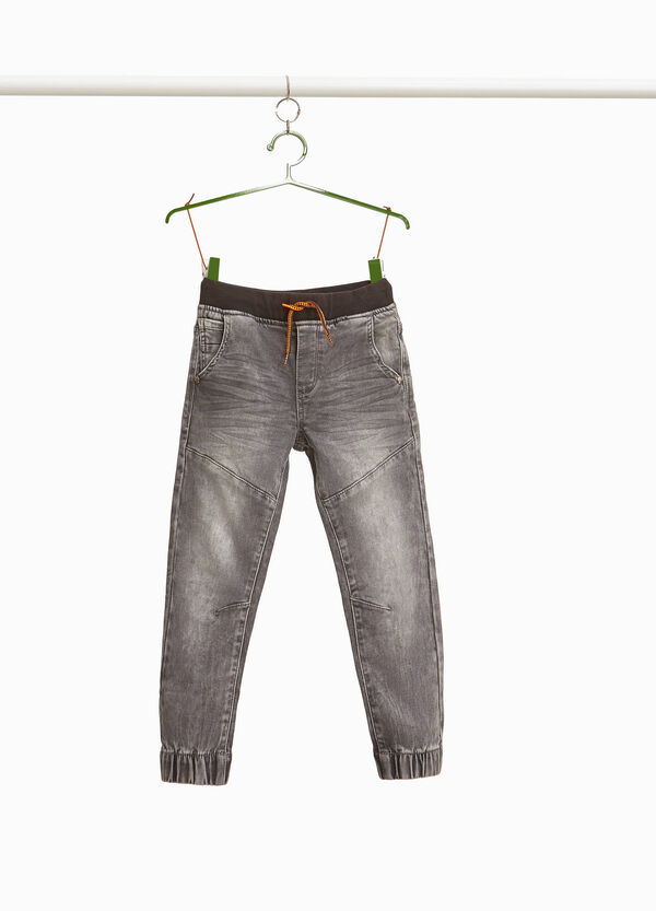 Jeans jogger fit stretch effetto maltinto