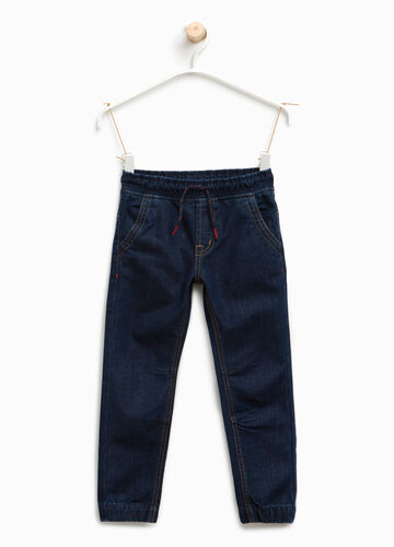 Solid colour jeans with drawstring