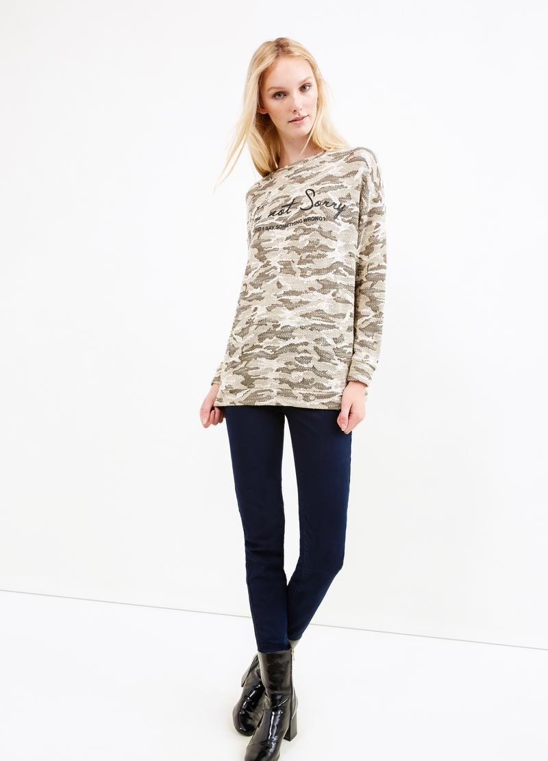 Sweatshirt with camouflage pattern image number null