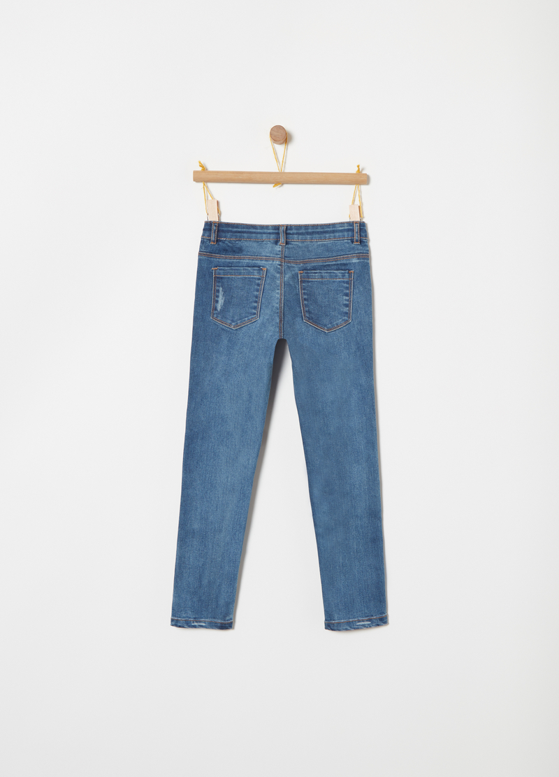 Jeans skinny fit inserti in ecopelliccia image number null