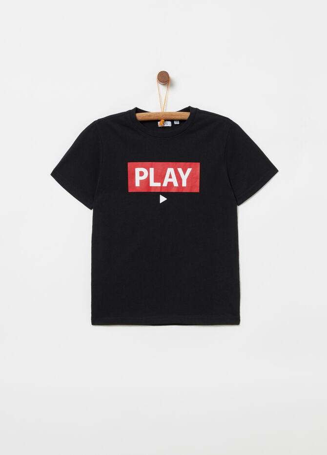 Printed jersey T-shirt with ribbed neck
