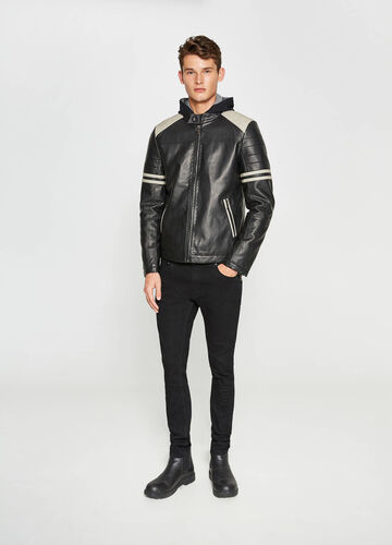 Leather look jacket with inserts
