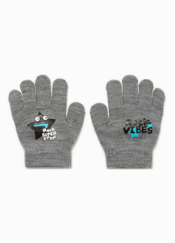 Stretch gloves with print