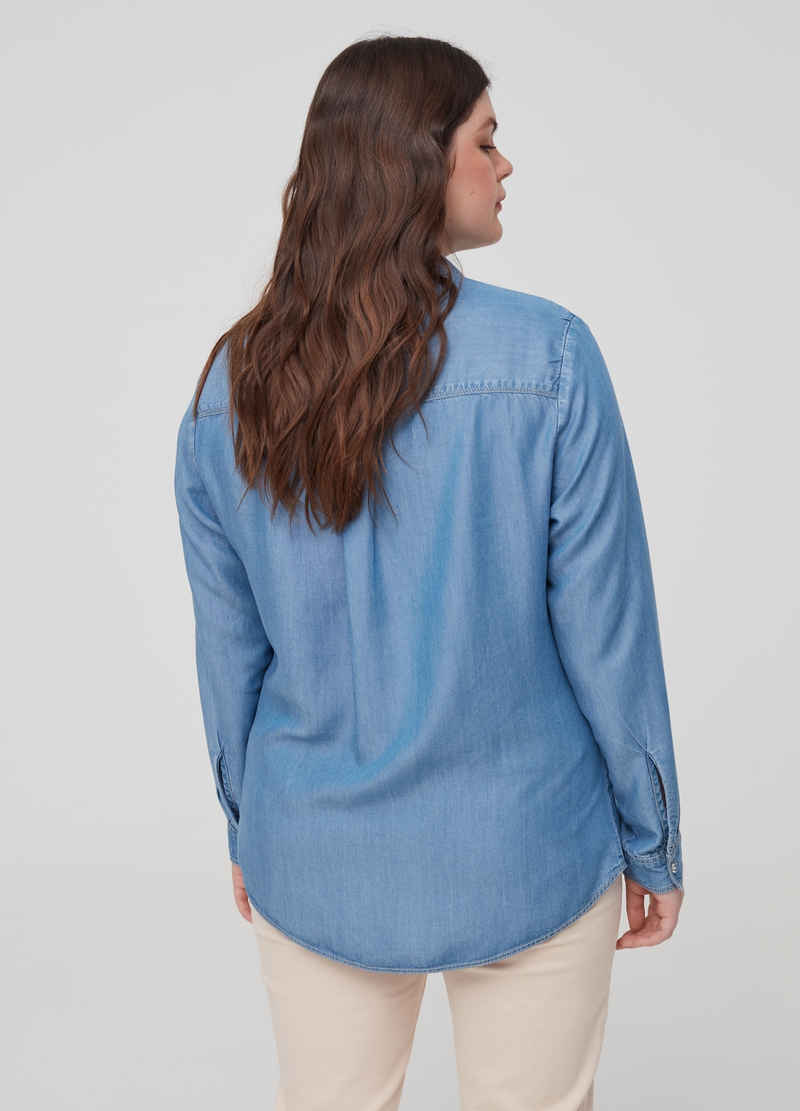 Curvy 100% Lyocell denim shirt image number null