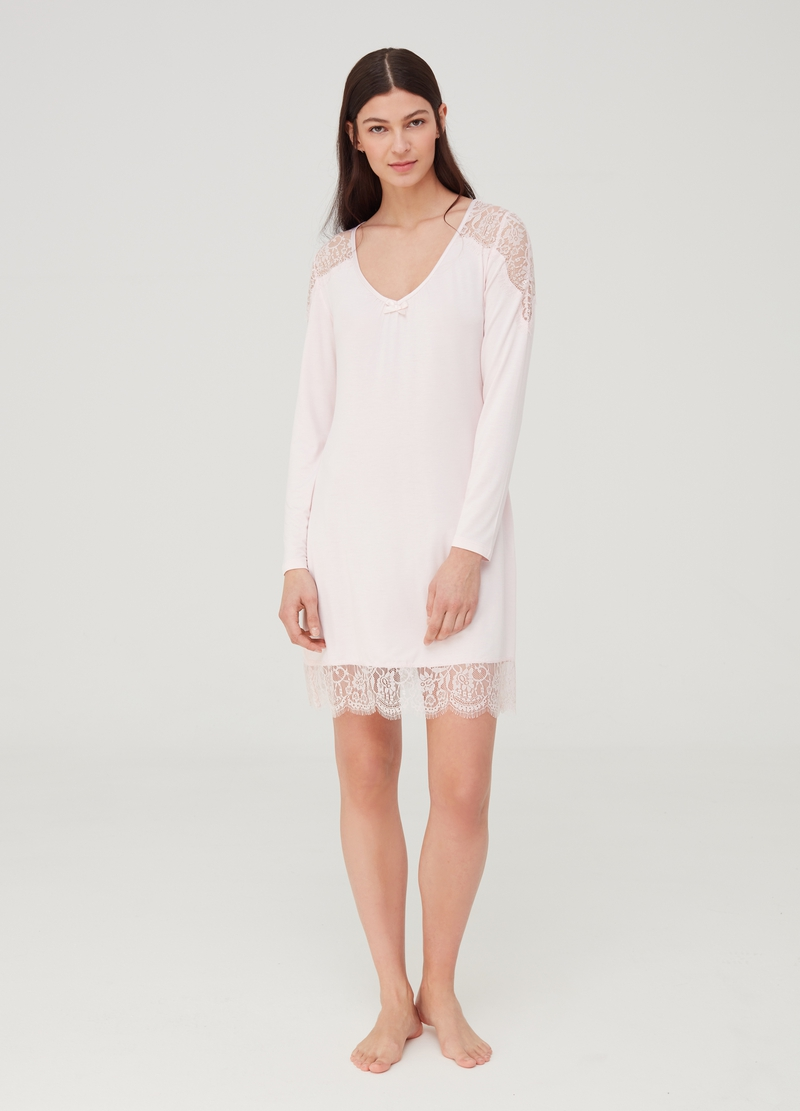 Nightshirt with lace inserts image number null