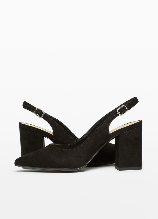 Shoes with heel in suede-effect canvas
