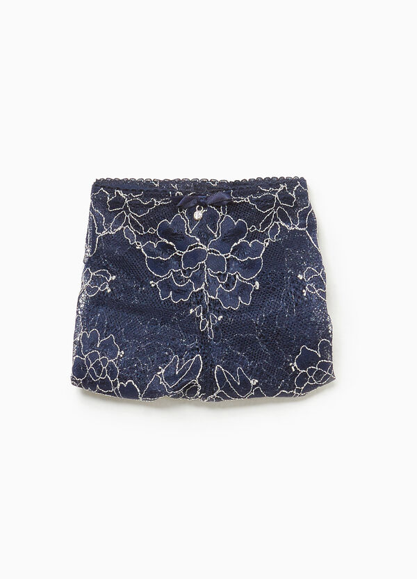 Stretch lace French knickers with diamantés