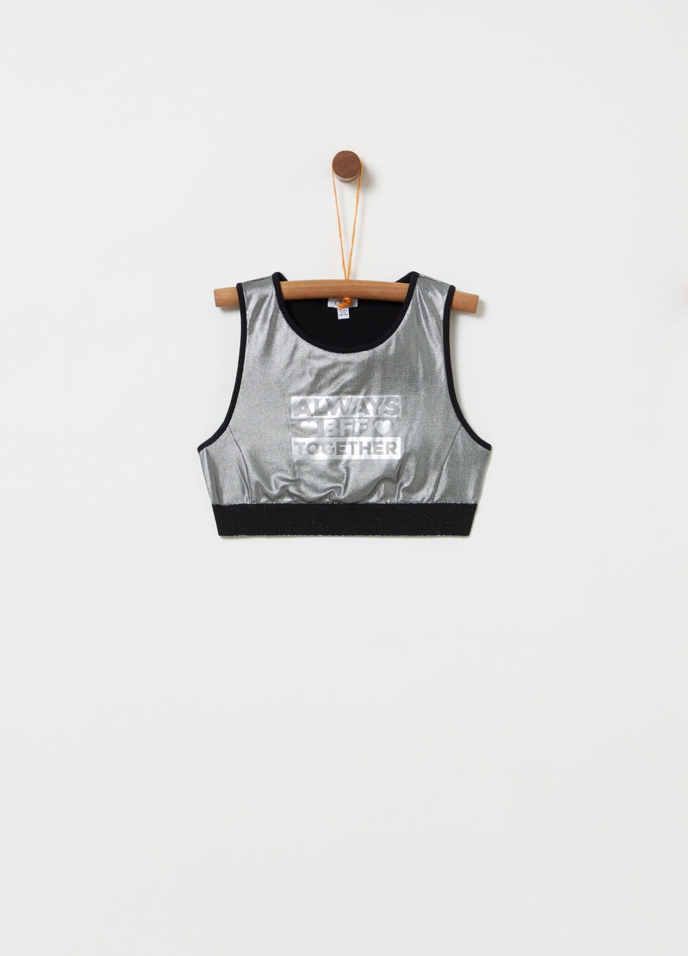 Tank top cropped con stampa in lamina