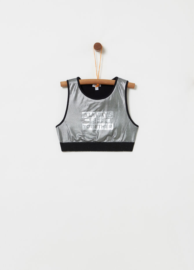 Cropped tank top with laminated print