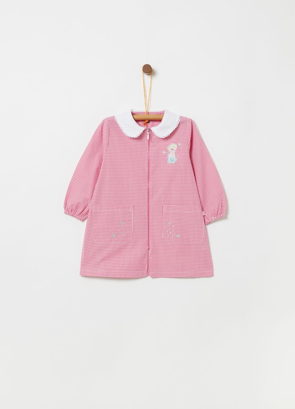 Checked school smock with zip fastening
