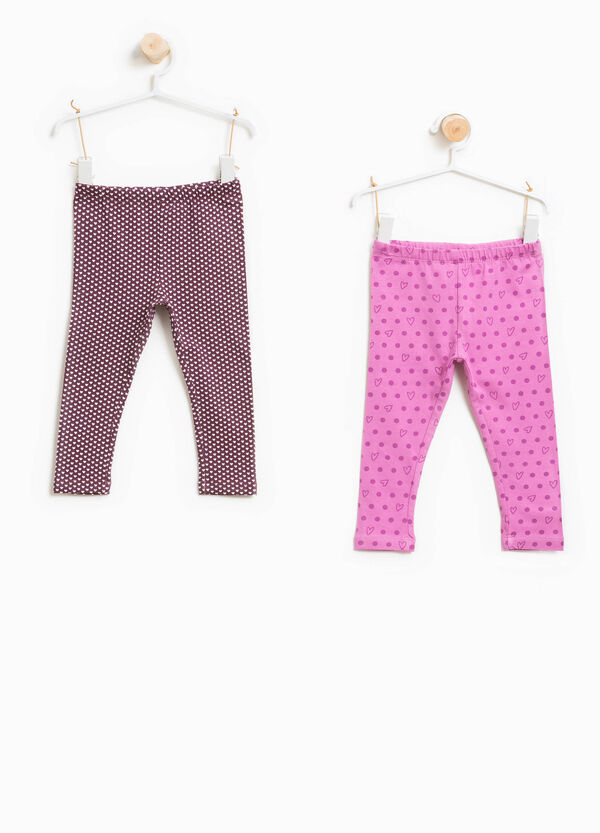 Two-pack patterned stretch leggings | OVS