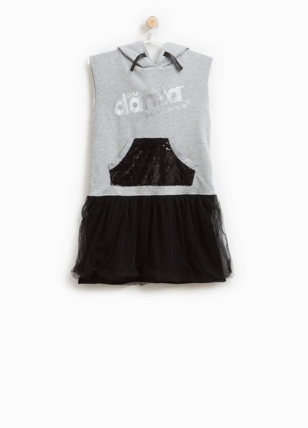 Sleeveless dress with hood and tulle | OVS