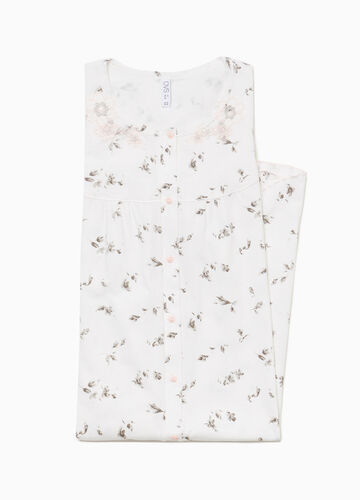 Floral embroidery nightshirt