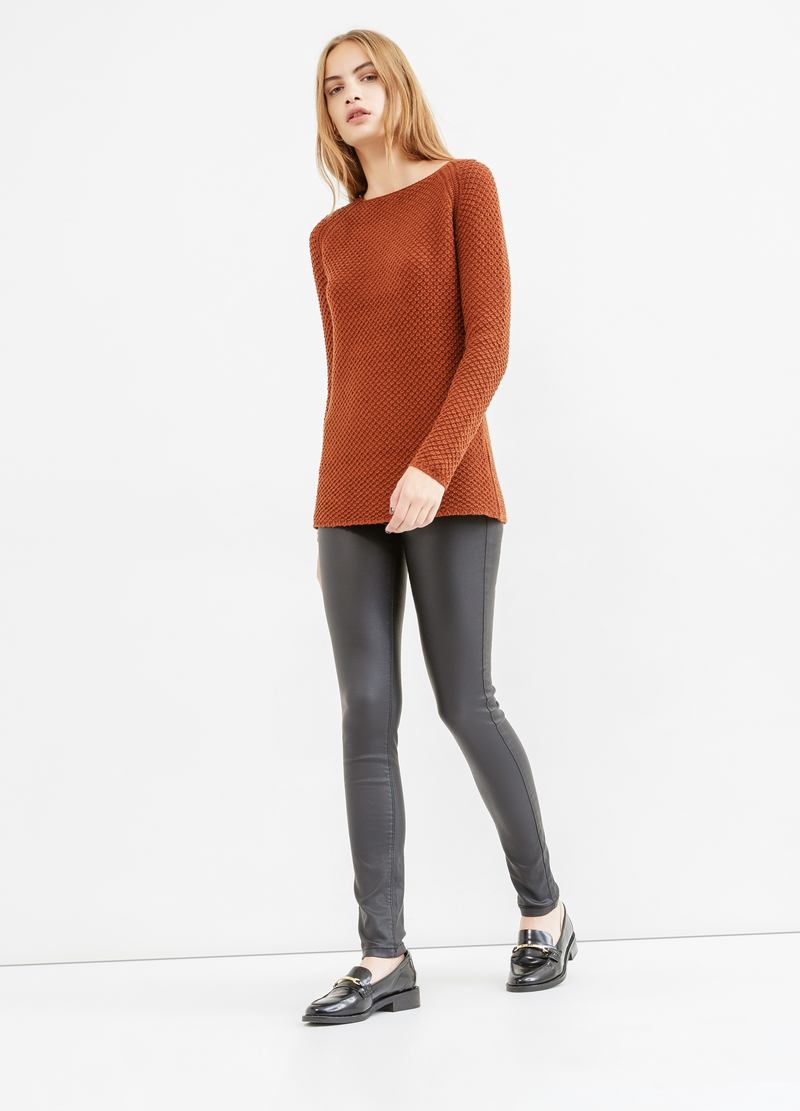 Chunky knit pullover with zip on the back image number null