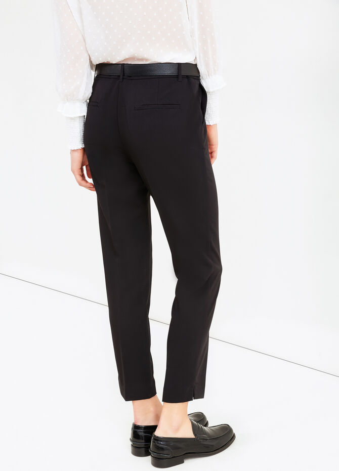 Stretch viscose trousers with crease