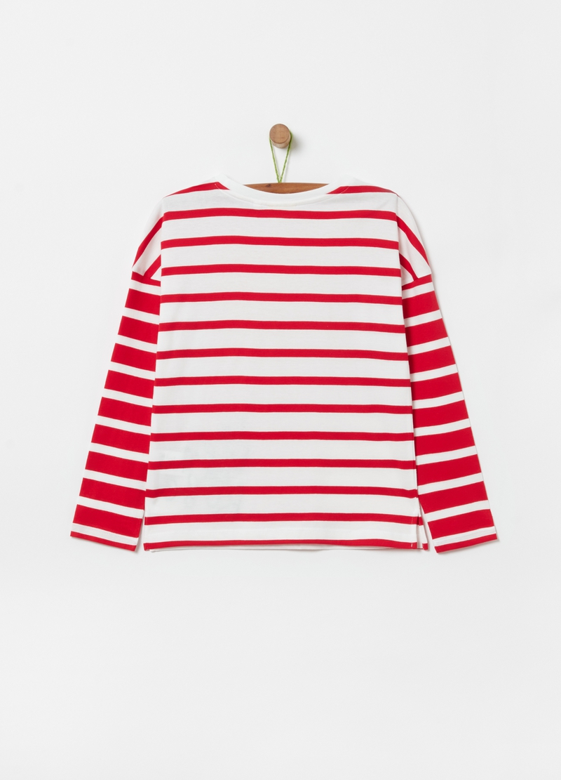 Striped T-shirt with embroidery image number null