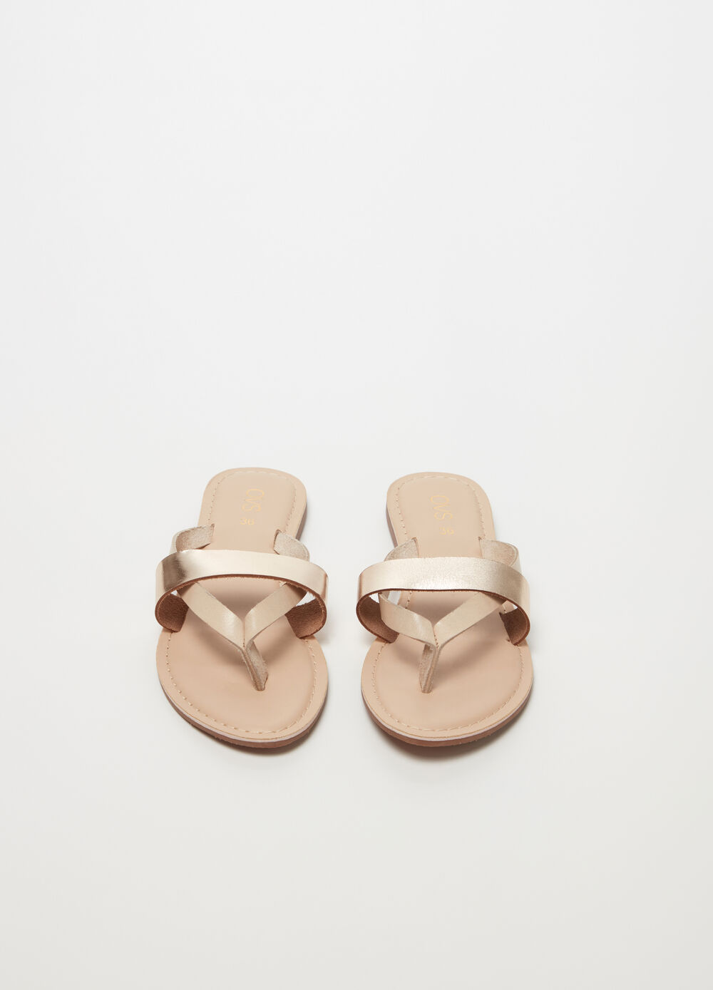 Thong sandals with shiny-effect strap