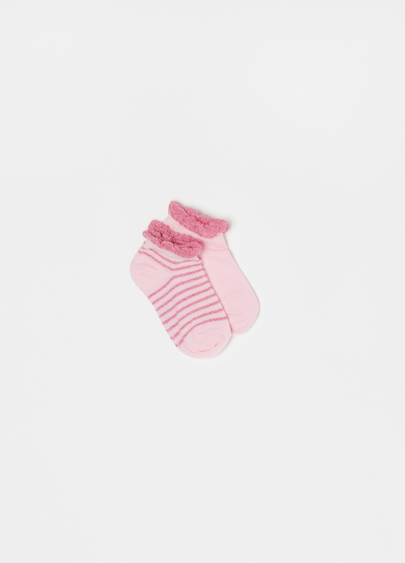 Two-pair pack short socks with decorative hem image number null