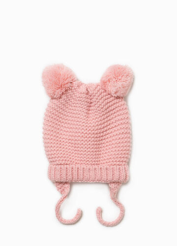 Hat with pompom and ear flaps.