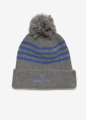 Beanie cap with pompoms and stripes