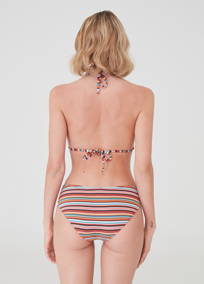 One-piece swimsuit with striped pattern image number null