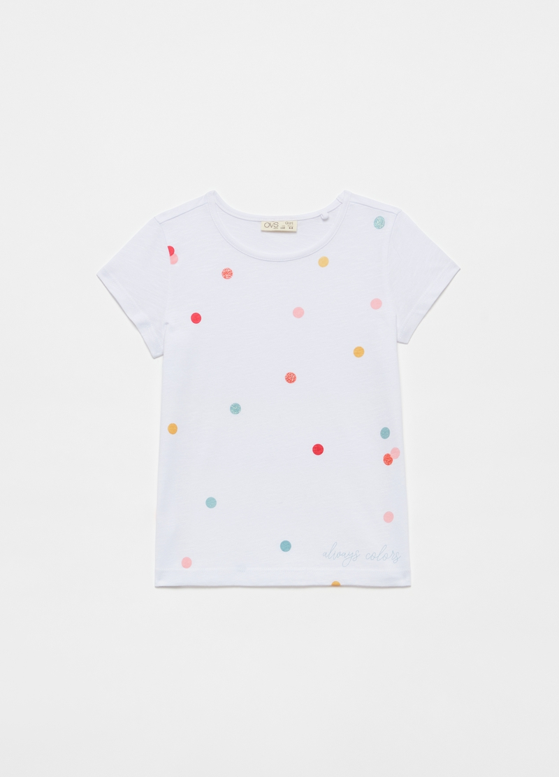 T-shirt with glitter polka dots print image number null