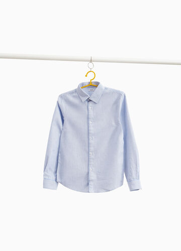Cotton shirt with striped inserts