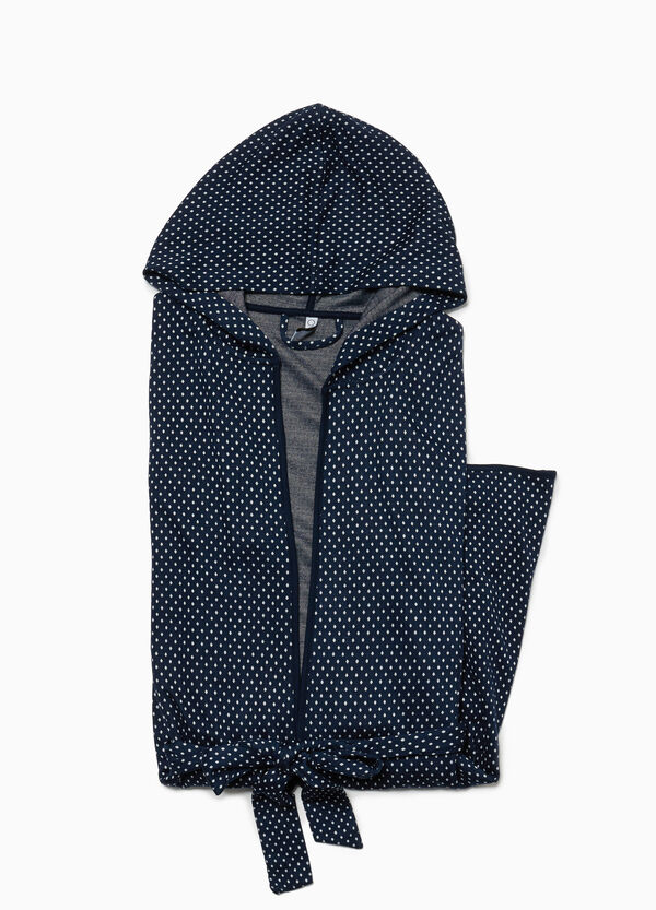 Stretch dressing gown with polka dot hood