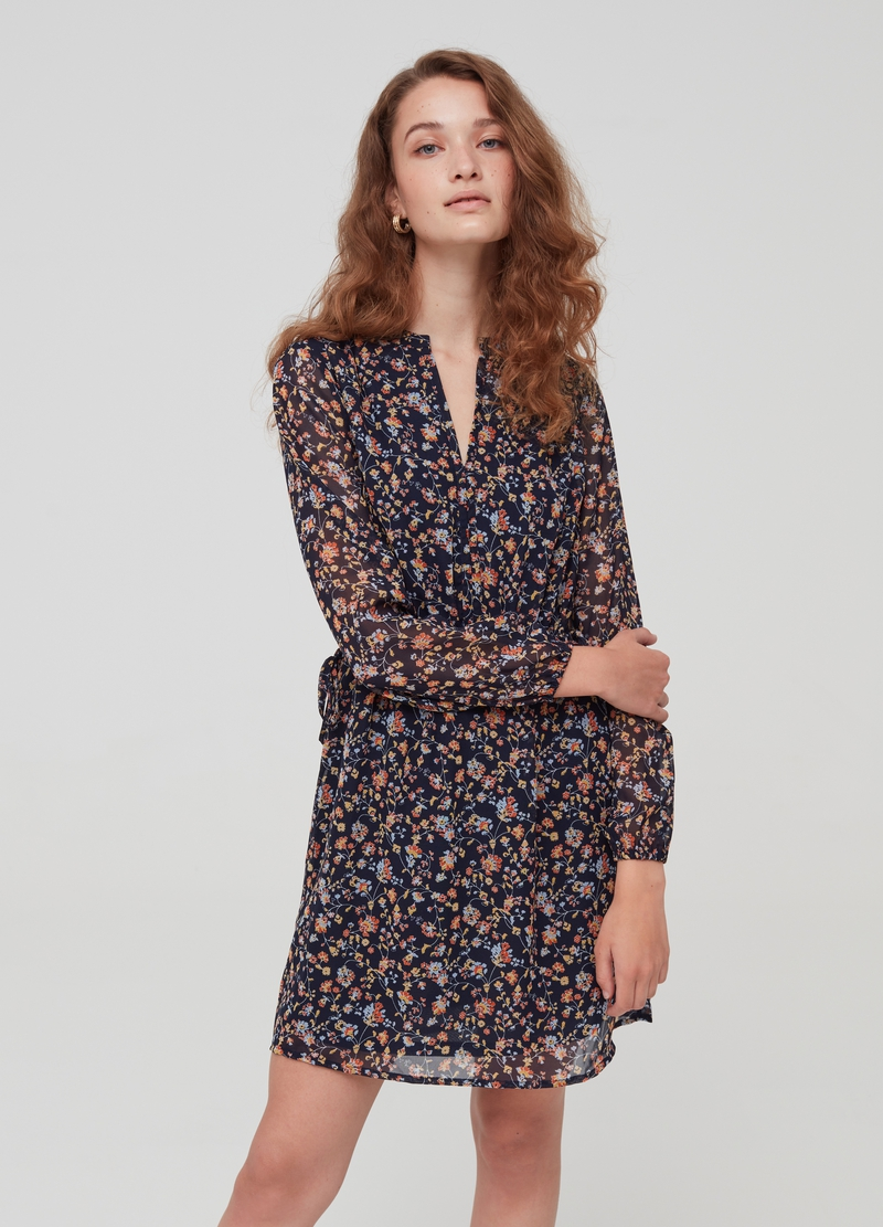 Semi-sheer dress with pattern image number null