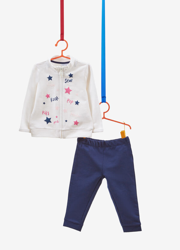 Stretch cotton tracksuit with glitter stars