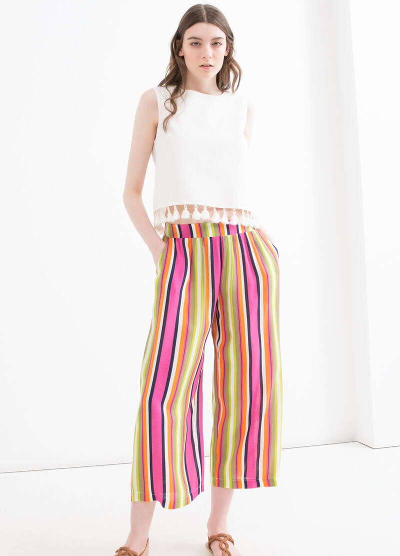 Striped trousers in 100% viscose