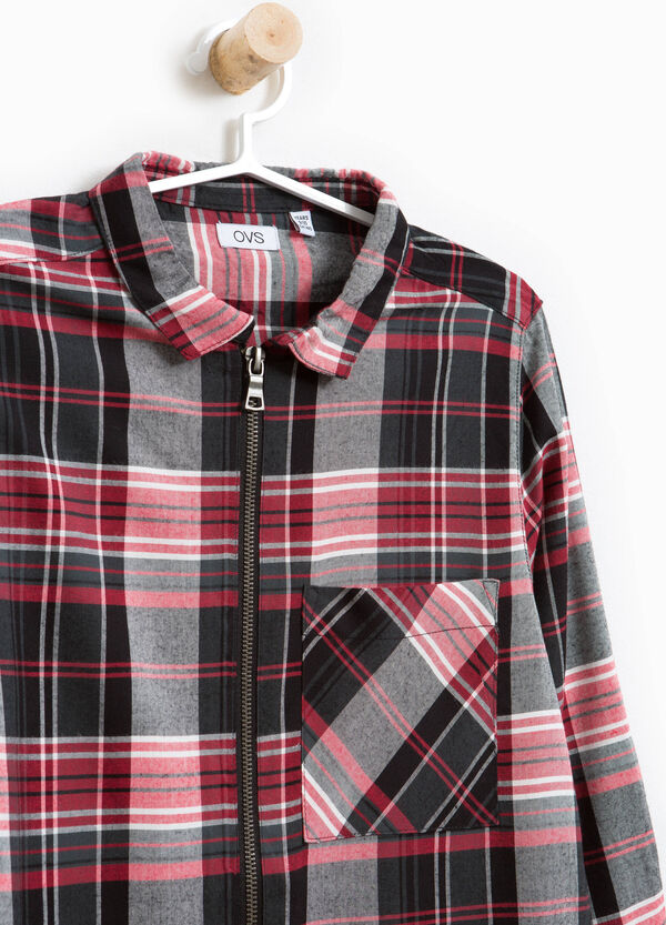 Viscose shirt with check zip | OVS