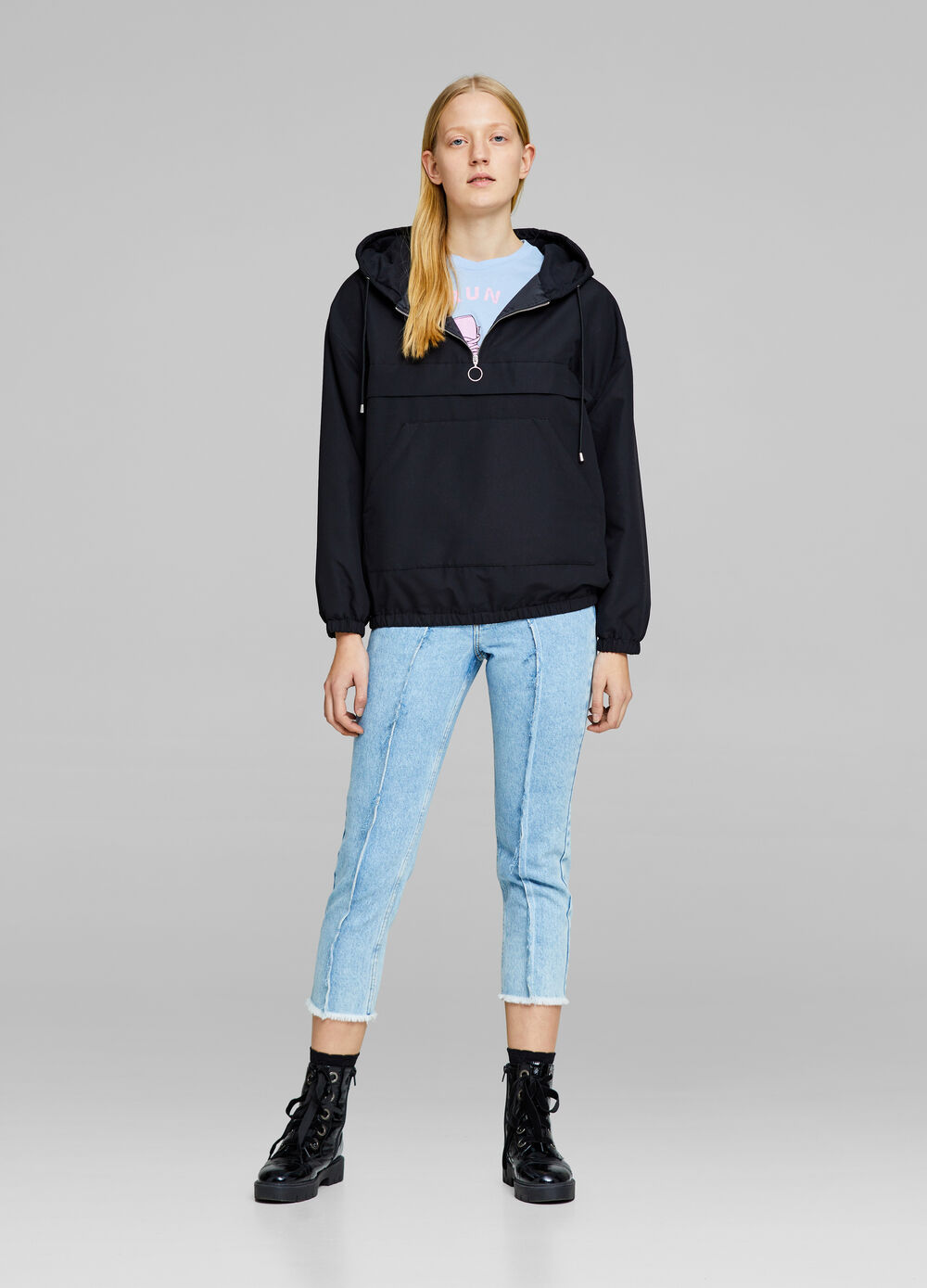 Hooded jacket with zip