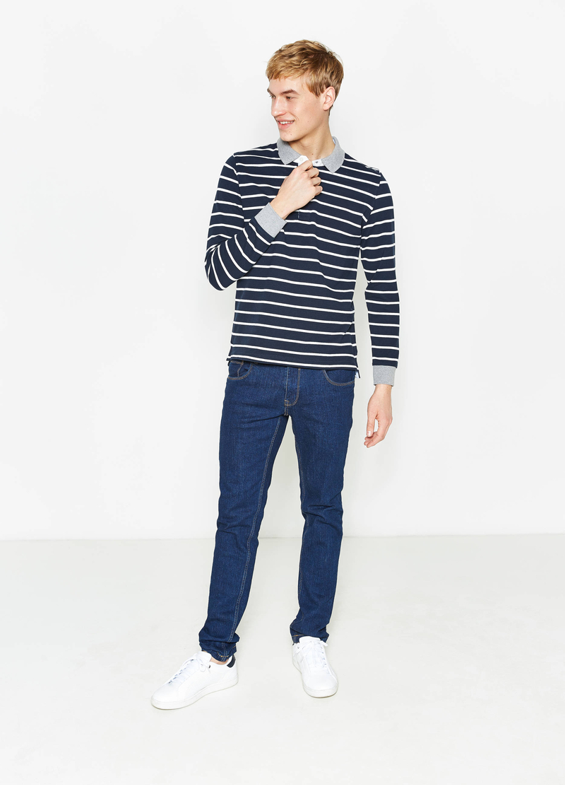 Polo in puro cotone fantasia a righe image number null