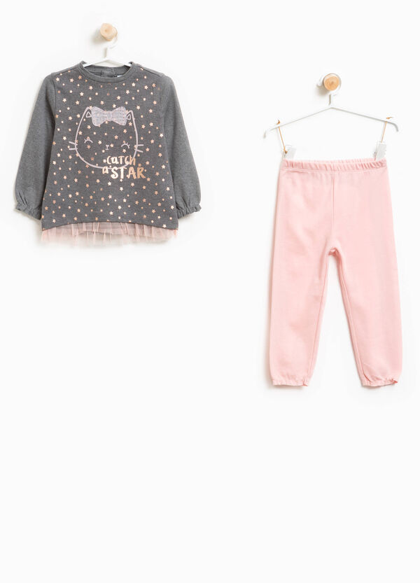 100% cotton pyjamas with maxi print and tulle | OVS