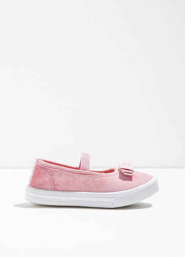 Canvas ballerina flats with strap